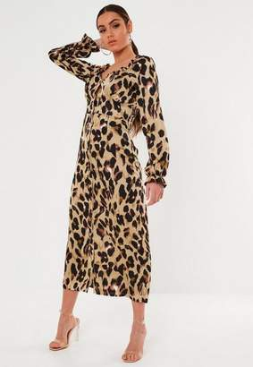 Missguided Tall Brown Leopard Satin Milkmaid Midi Dress