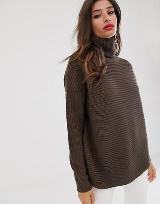 Vero Moda chunky roll neck jumper in dark brown
