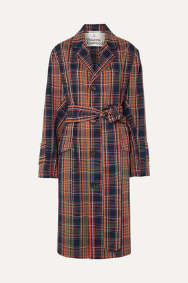 Vivienne Westwood Ophelia Checked Cotton-twill Trench Coat - Navy
