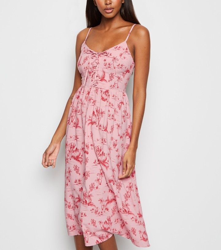 New Look Palm Print Lace Up Front Midi Dress