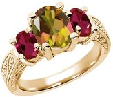 Gem Stone King 3.66 Ct Oval Mango Mystic Topaz Red Created Ruby 18K Yellow Gold 3-Stone Ring