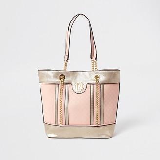 River Island Girls pink metallic jacquard shopper bag
