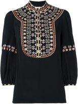 Vilshenko embroidered bib blouse