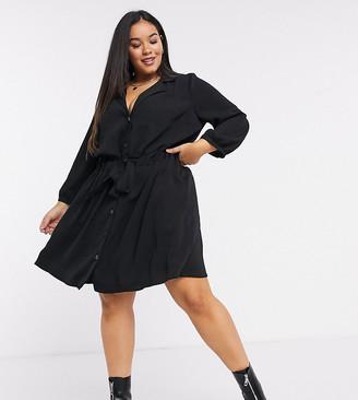 ASOS DESIGN Curve ruched waist button through mini dress in black