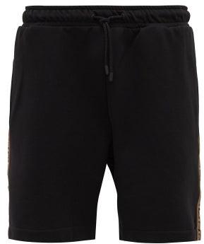 Fendi Logo Jacquard-striped Jersey Shorts - Mens - Black