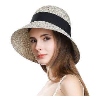 Cloche Womens Packable Wide Brim Straw Travel Summer Sun Hat Derby Bow SPF 50 Brown 56-57cm