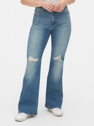 Gap High Rise Distressed Flare Jeans with Secret Smoothing Pockets
