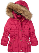 Catherine Malandrino Faux Fur Trimmed Hooded Bubble Jacket (Toddler Girls)