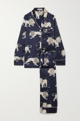 Olivia von Halle Lila Printed Silk-satin Pajama Set - Royal blue