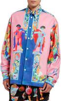 Versace Men's Twill Statue-Print Dress Shirt