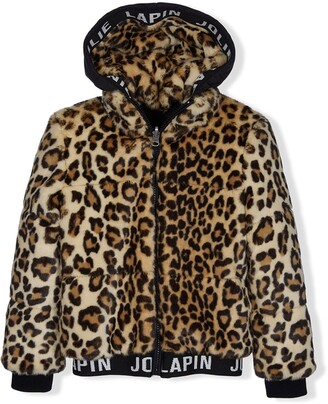 Lapin House Leopard-Print Zipped Hoodie