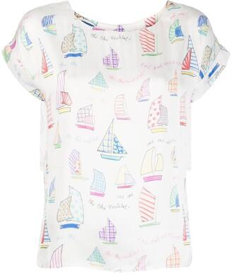 Mira Mikati sail boat print T-shirt