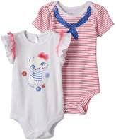 Baby Starters Baby Girl 2-pk. Kitty Graphic & Striped Bodysuits