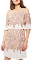 Topshop Leaf Pleat Bardot Mini Dress