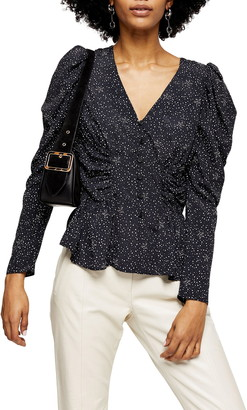 Topshop Star Print Puff Sleeve Blouse