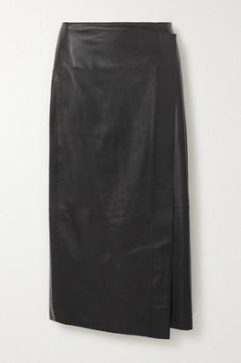 Vince Wrap-effect Leather Midi Skirt - Black