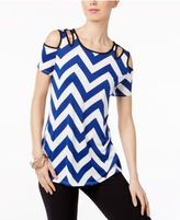 NY Collection Cold-Shoulder Cutout Blouse