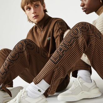 Lacoste Unisex LIVE Houndstooth Print Fleece Tracksuit Pants