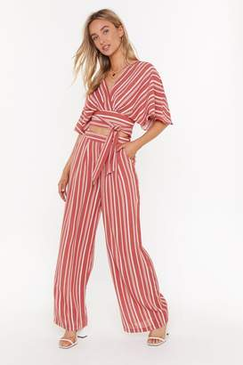 Nasty Gal Womens I Walk the Line Striped Wide-Leg Trousers - pink - L