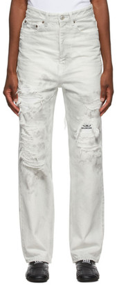Balenciaga White and Grey Ripped Patch Jeans