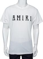 Thumbnail for your product : Amiri White Cotton Flocked Logo Detail Crewneck T-shirt S