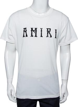 Amiri White Cotton Flocked Logo Detail Crewneck T-shirt S