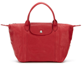Longchamp Small Leather Zip Top Shoulder Strap Tote
