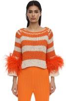 Primula Striped Sweater W/ Feathers