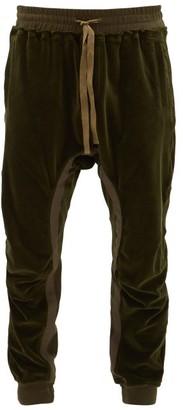 Haider Ackermann Tapered Cotton-blend Velvet Track Pants - Mens - Khaki