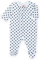 Petit Bateau Baby girls polka dot tube knit pajamas