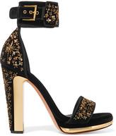Alexander McQueen Embellished Velvet Platform Sandals - Black