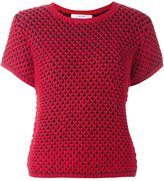 Julien David knitted shortsleeved top - women - Acrylic/Wool/Alpaca - S