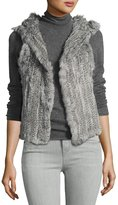 525 America Hooded Rabbit Fur Vest, Gray