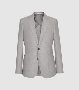 Reiss Time - Cotton Linen Blend Slim Fit Blazer in Light Grey