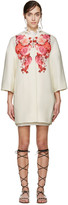 Giambattista Valli Cream & Red Floral Collarless Coat