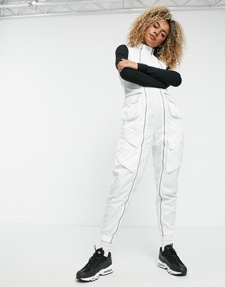 Jordan Nike jumpsuit in white with utility pockets