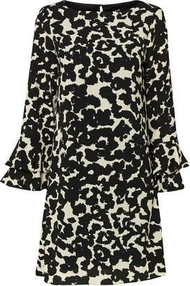 Wallis Monochrome Animal Print Flute Sleeve Shift Dress