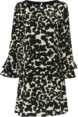 Wallis Monochrome Animal Print Flute Sleeve Shift Dress