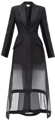 Alexander McQueen Sheer-hem Single-breasted Organza Coat - Black