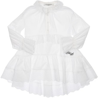 Philosophy di Lorenzo Serafini Cotton Poplin Dress W/ Eyelet Lace