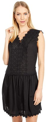 La Vie Rebecca Taylor Sleeveless Alicia Embroidery Dress (Black) Women's Clothing