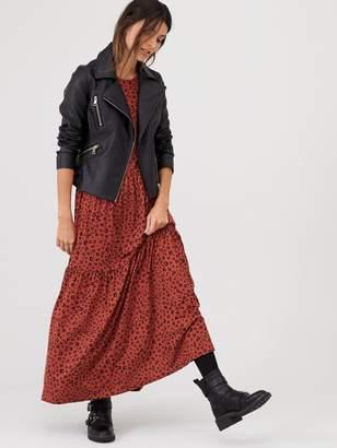 Very Smock Tiered Animal Maxi Dress - Rust