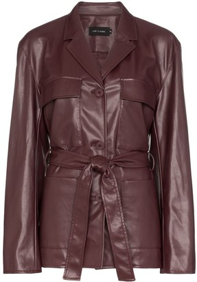 Low Classic belted faux leather jacket