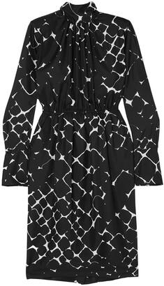 Marc Jacobs Gathered Printed Silk-twill Dress
