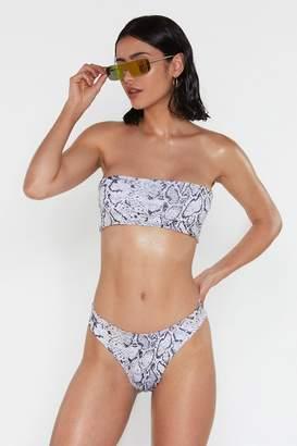 Nasty Gal Womens Snake It From Me High-Leg Bikini Bottoms - beige - 14