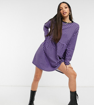Asos Tall ASOS DESIGN Tall super oversized long sleeve smock dress in purple and black stripe