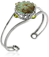 Barse Sterling Silver and Patagonia Turquoise Peridot Accents Cuff Bracelet