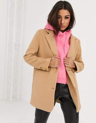 Couture The Club hooded crombie jacket in camel-Brown