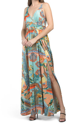 Pleated Printed Maxi Dress