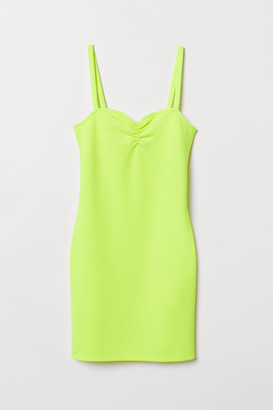 H&M Fitted Jersey Dress - Yellow